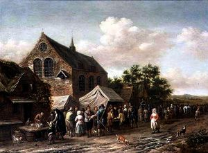 Barend Gael Or Gaal - Poultry Market by a Churc..