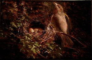 William Hughes - A Greenfinch at its Nest