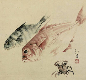 Toyota Hokkei - Still life of fish and cr..