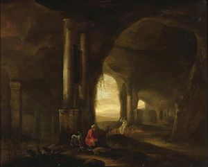 Abraham Van Cuylenborch - Grotto with Figures