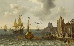 Abraham Willaerts - A French Galley and Dutch..