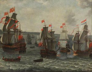 Abraham Willaerts - Action between Ships in t..
