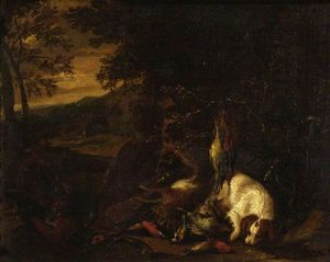 Adriaen De Gryef - Spaniel and Dead Game in ..