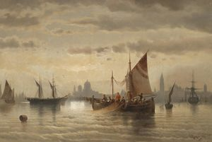 Albert Rieger - Sailboats in front of Ven..