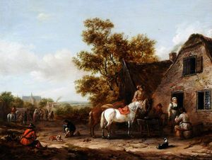 Barend Gael Or Gaal - Figures and Horses by a T..