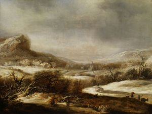 Dirck Dircksz Van Santvoo.. - Winter landscape with fig..