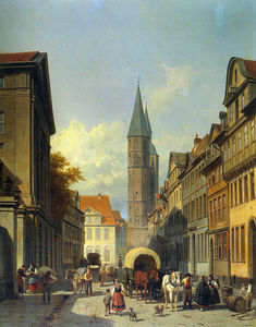 Jacques François Carabain - A Busy Street in a German..