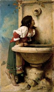 Léon Joseph Florentin Bon.. - Roman Girl at a Fountain