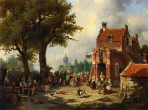 Jacques François Carabain - Festivities outside the I..