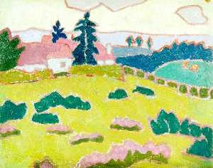 Jessica Dismorr - Landscape with Cottages