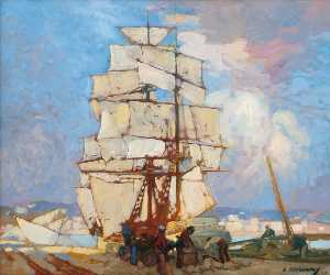Léon Cauvy - In the Harbor of Algiers
