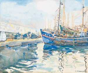 Léon Cauvy - In the Port of Algiers