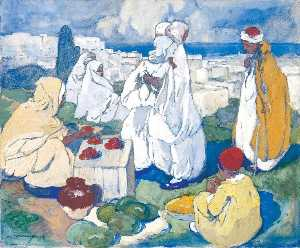 Léon Cauvy - The Fruit Market above Al..