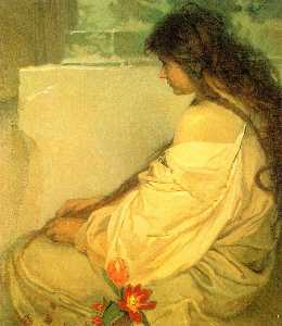Alfons Maria Mucha - Girl with Loose Hair and ..