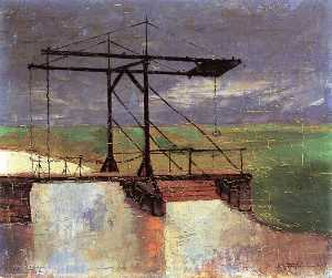 Felix Nussbaum - Drawbridge across a Moorl..