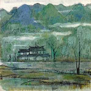 Lin Fengmian - DWELLING BY THE LAKE