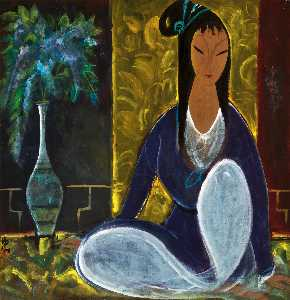 Lin Fengmian - SEATED LADY WITH FLOWERS