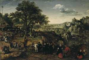 Lucas Van Valckenborch I - Landscape with a Rural Fe..