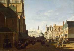 Gerrit Adriaenszoon Berck.. - The Groote Market in Haar..