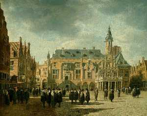 Gerrit Adriaenszoon Berck.. - Market Square and Town Ha..