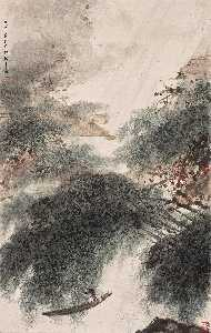 Fu Baoshi - BOATING UNDER THE WILLOWS