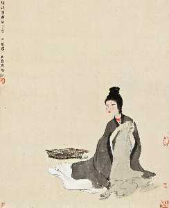 Fu Baoshi - LADY SEWING