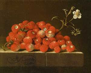 After Adriaen Coorte - Wild Strawberries on a Le..
