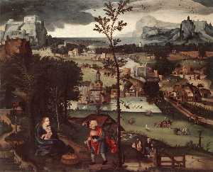 Joachim Patinir - Landscape with the Rest o..