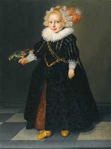 Dirck Dircksz Van Santvoo.. - Portrait of a child, aged..
