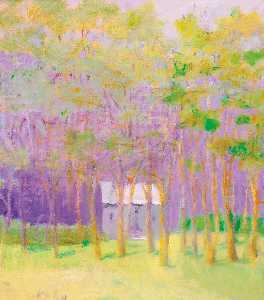 Wolf Kahn - Purple House in the Green..