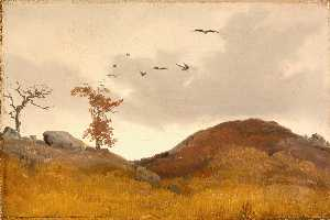 Karl Friedrich Lessing - Landscape with Crows