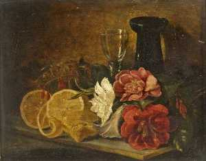 George Lance - Still Life with Fruit and..