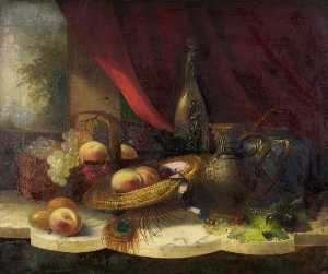 George Lance - Still Life with Fruit, a ..