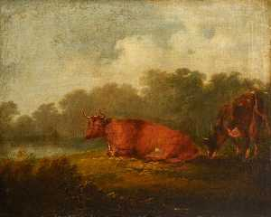 Peter Francis Bourgeois - Landscape with Cattle (A ..