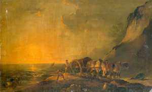 Peter Francis Bourgeois - Sea Shore with Horse and ..