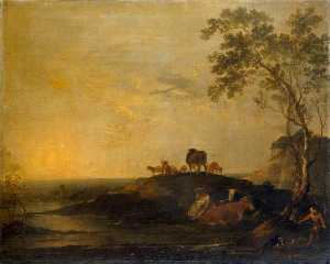 Peter Francis Bourgeois - Landscape with Cattle (Co..