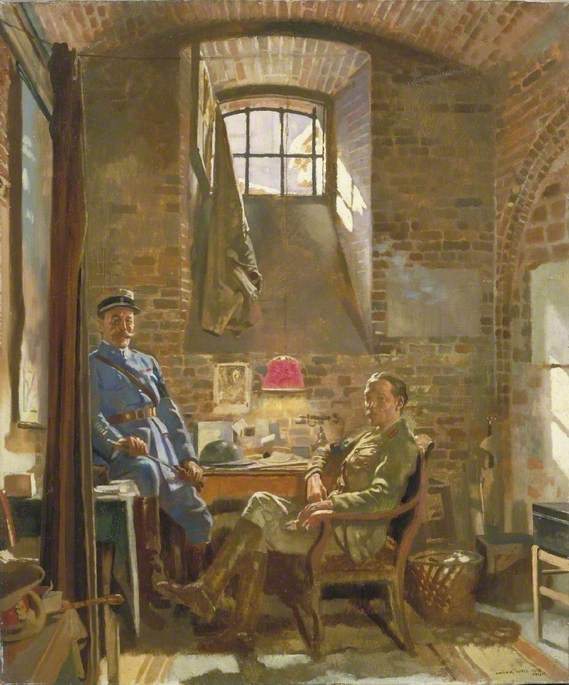 In Their Cellar in Amiens Captain R. Maude, Department of the Army, Provost Marshal General, Awarded the Croix de Guerre by the French Authorities, and Colonel Du Tiel, Commandant d`Armes, Amiens, 1918 by William Newenham Montague Orpen (1878-1931, Ireland) | Art Reproduction | ArtsDot.com