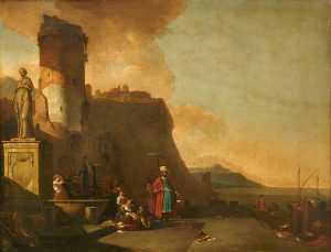 Thomas Wyck - Capriccio of a Fort by th..