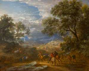 Adam Frans Van Der Meulen - Wooded Landscape with Hor..