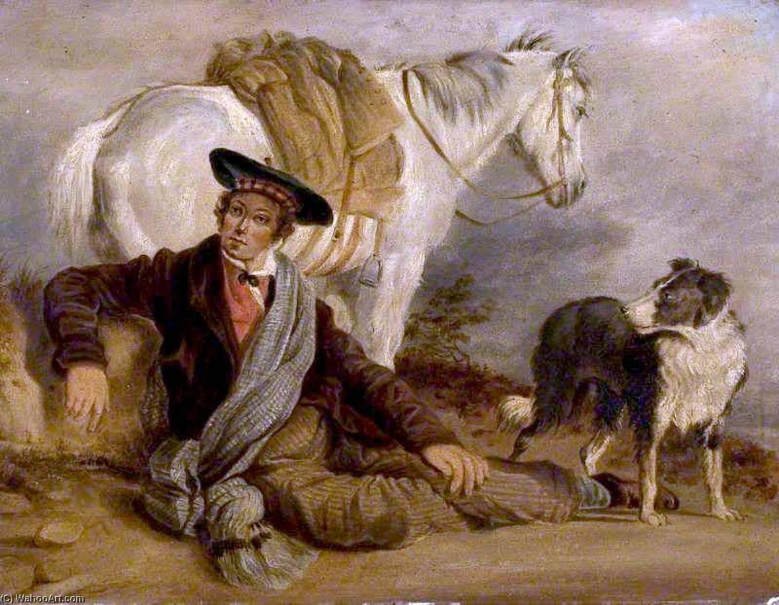 L uomo reclinabile accompagnato di un Cavallo e un Cane di Richard Ansdell  (1815-1885, United