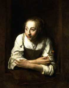 Philips De Koninck - A Woman Leaning out of a ..