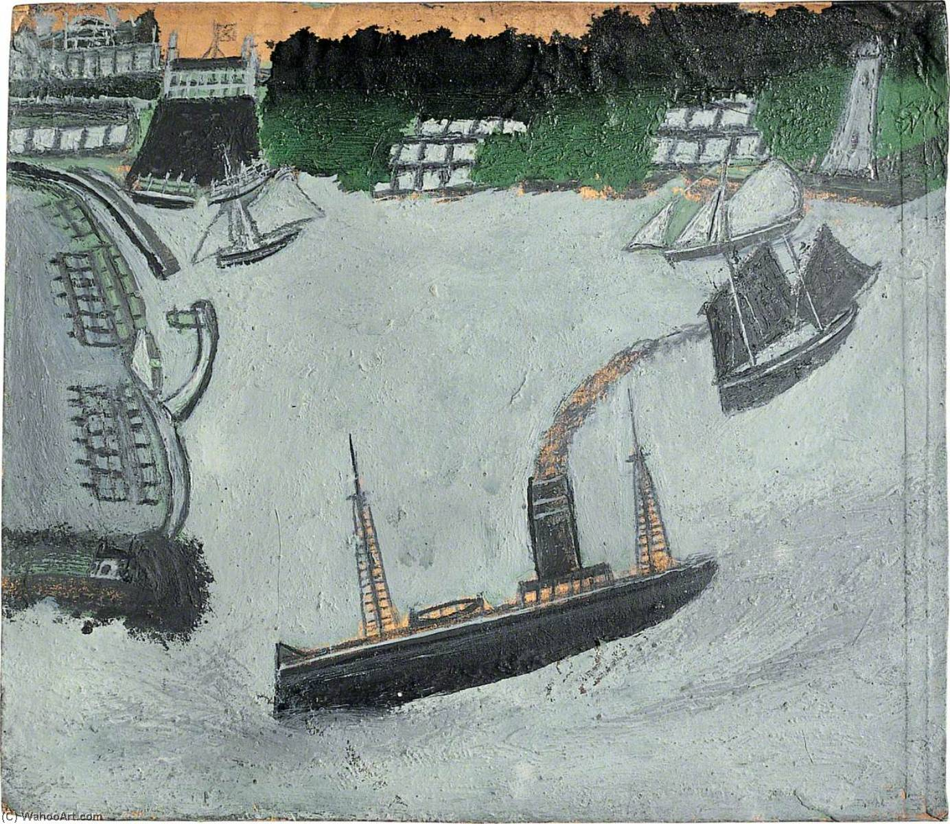 St Ives harbour and Godrevy (recto), 1938 by Alfred Wallis (1855-1942, United Kingdom) | Paintings Reproductions Alfred Wallis | ArtsDot.com