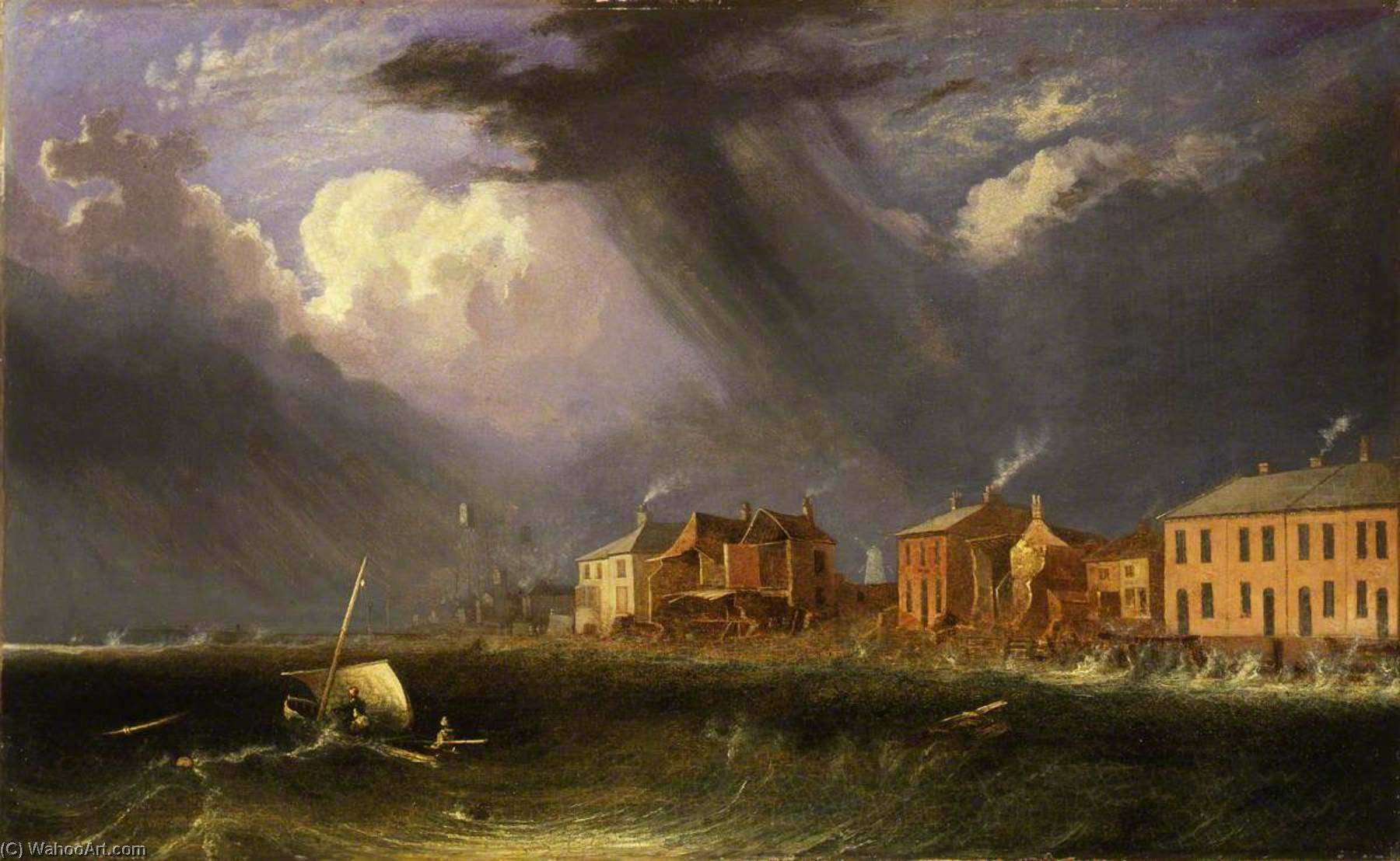 Great Gale at Yarmouth on Ash Wednesday, 1836 by John Berney Crome (1768-1821) | Art Reproductions John Berney Crome | ArtsDot.com