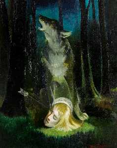 Doris Clare Zinkeisen - Wolf Guarding the Head of..