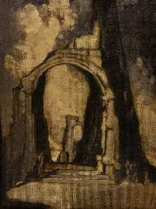 James Ferrier Pryde - Ruined Arch with Figure