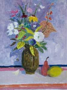 David Mcclure - Flowers with Red Pear