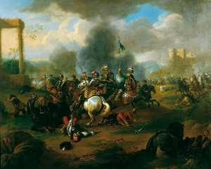 Jan Van Huchtenburgh - Battle Scene from the War..