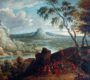 Jan Van Huchtenburgh - Landscape with Soldiers