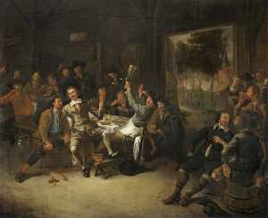 Gerrit Lundens - Peasants Feasting in a Ba..
