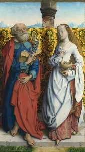 Maitre De Saint Barthelem.. - Saints Peter and Dorothy